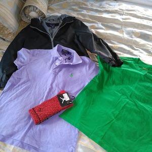 Lot of 4 boys tops and socks- sz M (8-10)